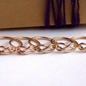 SET OF 5 Infinity Knot Ring-- 14K g..