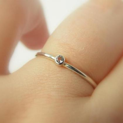 Tiny Birthstone Ring: silver ring, ..
