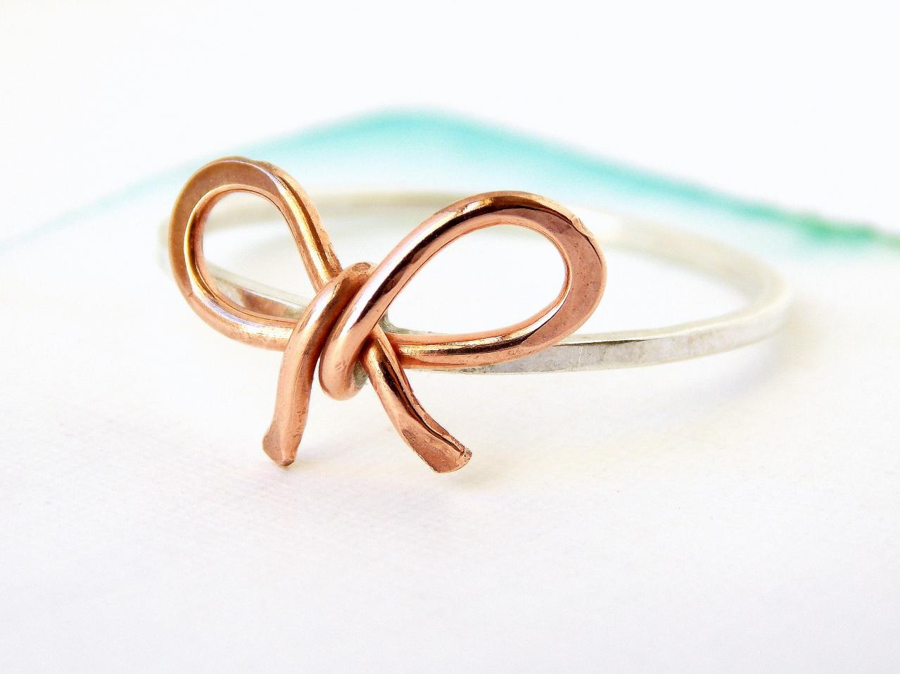 Forget Me Knot Bow Ring-- Friendship Ring, Copper Bow