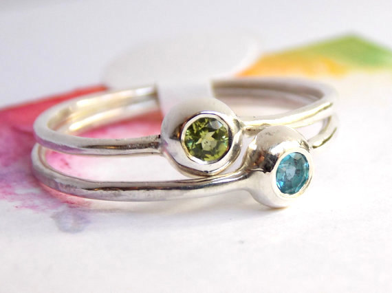 Two Birthstone Stacking Rings: Minimalist, Sterling Silver, Pebble Birthstone Ring