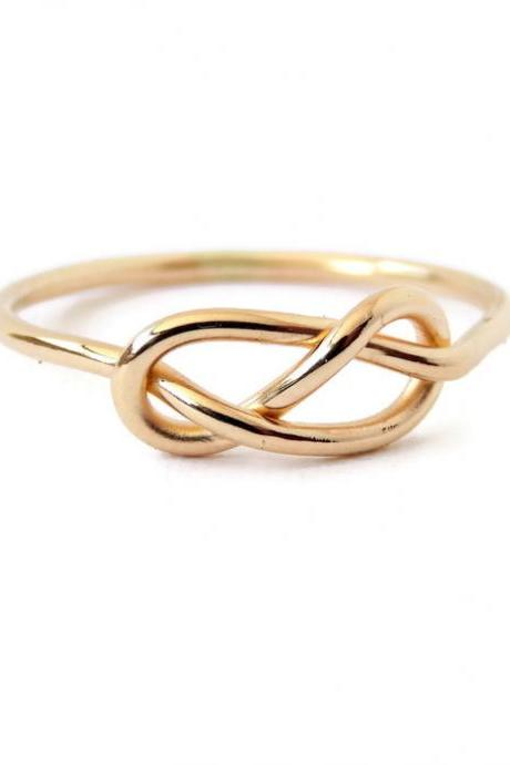 Solid Gold Infinity Knot Ring: 14K Gold ring, Yellow or White Gold, Engagement Ring, Promise Ring
