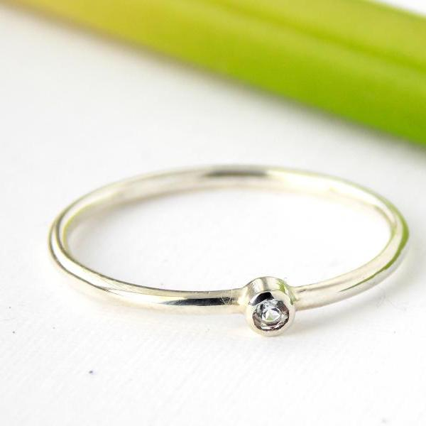 Tiny Birthstone Ring: silver ring, sterling silver ring, dainty ring, tiny ring, small ring, birthstone ring, stacking ring, stackable ring