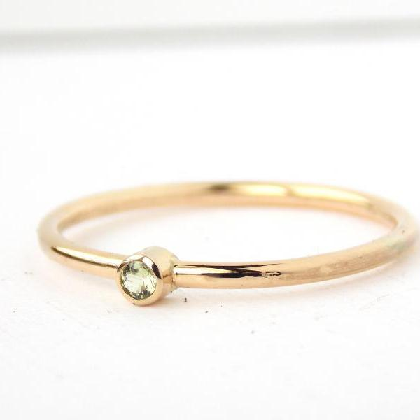 Tiny Yellow Gold-filled Birthstone Ring: 14K Gold-filled ring, dainty ring, simple ring, gold ring, promise ring, birthstone ring