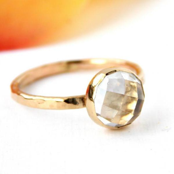 Rose Cut White Topaz Ring: 14K Solid Gold ring, white topaz, egagement ring, wedding ring, hammered ring, textured ring, rose cut ring