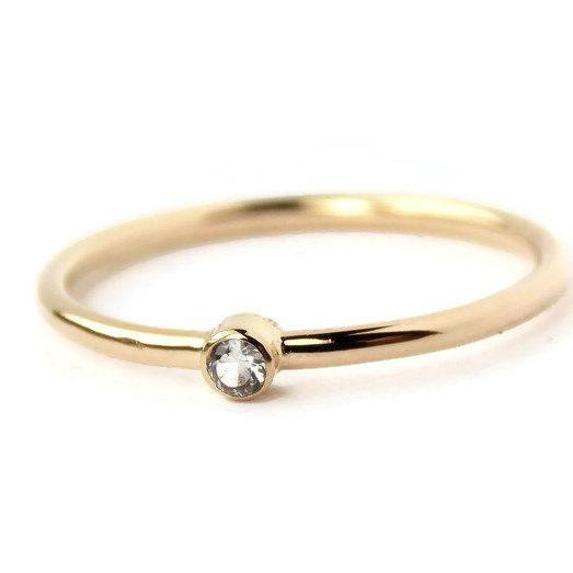 Tiny Diamond Ring: 14K Solid Gold ring, diamond ring, petite ring, dainty ring, simple ring, gold ring, wedding ring, engagement ring